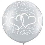 3ft Round Silver Entwined Hearts Latex