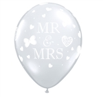 "11"" ROUND MR. & MRS. DIAMOND CLEAR LATEX (50 PER BAG)"