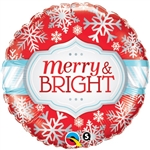 "18"" ROUND MERRY & BRIGHT SNOWFLAKES FOIL"