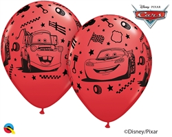 "12"" RETAIL LATEX  LIGHTNING MCQUEEN & MATER (6 BAGS OF 6 BALLOONS PER BAG)"