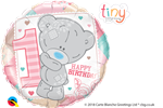 "18"" ROUND FOIL TINY TATTY 1st BIRTHDAY GIRL"