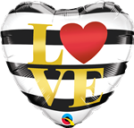 "18"" L(HEART)VE HORIZONTAL STRIPES FOIL"