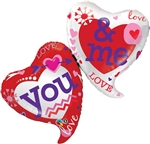 "42"" YOU AND ME TWO HEARTS FOIL BALLOON"