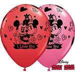"11"" ROUND MICKEY & MINNIE  ASSORTED RED & ROSE (25 PER BAG)"