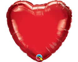 "Qualatex 23355 9"" Heart Ruby Red Foil"