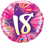 "18"" ROUND AGE 18 SHINING STAR HOT PINK FOIL"