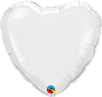 "Qualatex 24111 9"" Heart White Foil"