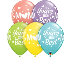 "11"" ROUND MOM YOU'RE THE BEST SORBET ASSORTMENT LATEX (50 PER BAG)"