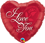 "18"" HEART I LOVE YOU RED ROSE FOIL"