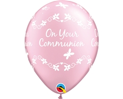 "11"" ROUND PEARL PINK ON YOUR COMMUNION LATEX (25 PER BAG)"