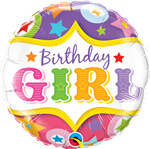 "18"" ROUND BIRTHDAY GIRL CIRCUS STARS FOIL BALLOON"