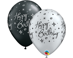 Happy Birthday Elegant Black & Silver Latex