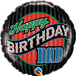 "18"" ROUND BDAY DAD STRIPES FOIL BALLOON"