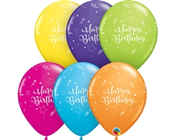 "11"" ROUND BIRTHDAY SHINING STAR TROPICAL ASSORTMENT LATEX (25 PER BAG)"