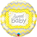 "18"" ROUND SWEET BABY YELLOW PATTERNS FOIL BALLOON"