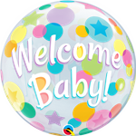SINGLE BUBBLE WELCOME BABY COLOURFUL DOTS
