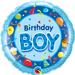 "18"" Round Birthday Boy Blue Foil"