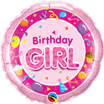 "18"" Round Birthday Girl Pink"