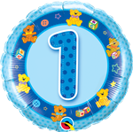 "18"" Round Age 1 Birthday Boy Foil"