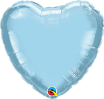 "Qualatex 27163 04"" Heart Pearl Light Blue Foil"
