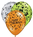 "11"" ROUND HALLOWEEN ASSORTMENT LATEX (25 PER BAG)"