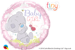 "18"" ROUND TINY TATTY TEDDY BABY GIRL FOIL BALLOON"