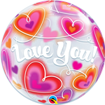 "22"" SINGLE BUBBLE LOVE YOU DOODLE HEARTS"