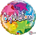 "18"" ROUND CONGRATULATIONS STAR PATTERNS FOIL"