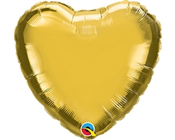 "Qualatex 36336 4"" Heart Gold Foil"