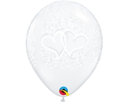 "11"" ROUND ENTWINED HEARTS DIAMOND CLEAR LATEX (50 PER BAG)"