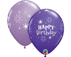 "11"" ROUND BIRTHDAY SPARKLE VIOLET & LILAC LATEX (25 PER BAG)"