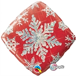 "18"" DIAMOND HOLOGRAPHIC SNOWFLAKE SPARKLES RED FOIL"
