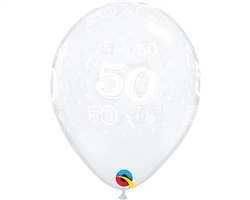 "11"" ROUND DIAMOND CLEAR AGE 50 LATEX (50 PER BAG)"