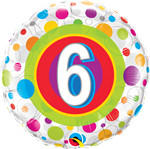 "18"" AGE 6 COLOURFUL DOTS FOIL BALLOON"