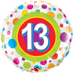 "18"" AGE 13 COLOURFUL DOTS FOIL BALLOON"