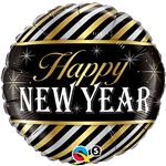 "18"" ROUND NEW YEAR DIAGONAL STRIPES FOIL"