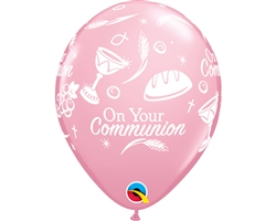 "11"" ROUND PINK COMMUNION SYMBOLS LATEX (25 PER BAG)"
