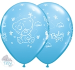 "11"" ROUND TINY TATTY TEDDY BABY BOY BLUE LATEX (25 PER BAG)"