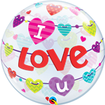 "22""  I LOVE U BANNER HEARTS BUBBLE"