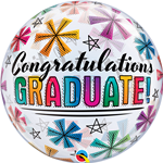 "22"" SINGLE BUBBLE CONGRATULATIONS GRADUATE & STARS"