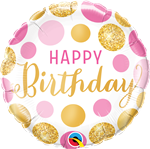 "18"" ROUND BIRTHDAY PINK & GOLD DOTS FOIL"