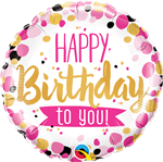 "18"" ROUND HAPPY BIRTHDAY TO YOU PINK & GOLD FOIL"