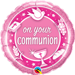 "18"" ROUND ON YOUR COMMUNION PINK FOIL"