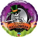 "18"" ROUND HALLOWEEN SKELETON MIRROR FOIL"