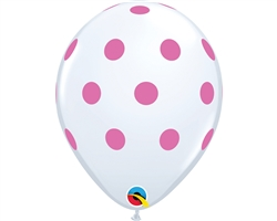 Big Polka Dot White & Pink Latex