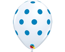 Big Polka Dot White & Blue Latex