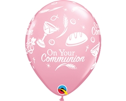 "11"" RETAIL LATEX COMMUNION SYMBOLS PINK (6 BAGS OF 6 BALLOONS PER BAG)"