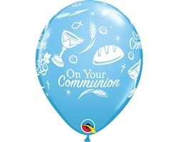"11"" RETAIL LATEX COMMUNION SYMBOLS BLUE (6 BAGS OF 6 BALLOONS PER BAG)"