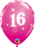 "11"" RETAIL LATEX AGE 16 SPARKLE BERRY (6 BAGS OF 6 BALLOONS PER PACK)"