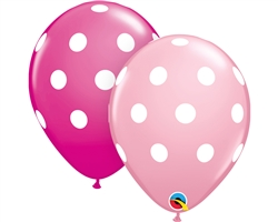 "11"" ROUND BIG POLKA DOTS PINK & WILD BERRY (25 PER BAG)"